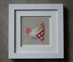 Heart picture textile heart embroidered heart by AlisonWhateley