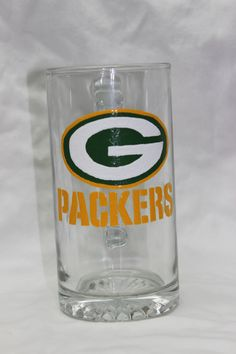 Hand Painted Green Bay Packers Beer Mug with by CraftedPerfections