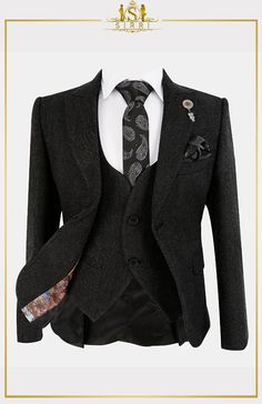 Keep your young man's style tight with this sleek suit set. Using a textured fabric with a rich charcoal black tone this is a complete boys suit set that has all you need for when you need a suit for a formal event. Shop now at SIRRI kids #boys wedding outfits #prom suits for boys #page boy suit #boys suits sale
