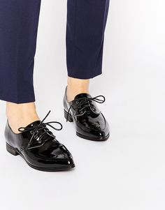 0deda361bda8 Daisy Street Black Slim Lace Up Flat Shoes