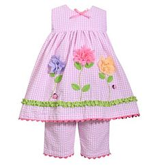 Gerson Girls' 2T-6X Seersucker Dress and Capri Set