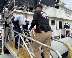 U.S. Coast Guard Cutter Joseph Tezanos' crew along with Customs and Border Protection agents offload nearly $15 million of seized cocaine at Coast Guard Base San Juan. Coast Guard Bases, Coast Guard Cutter, Us Coast Guard, Puerto Rico, Joseph, San Juan