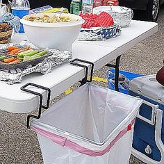 Portable Trash Bag Holder... Great thing to have when camping, and your trash bags just end up folded over on the ground! #camping #outdoors #cooking