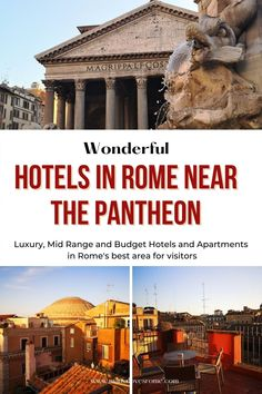 Handpicked selection of the best Rome hotels near the Pantheon, the best area to stay in Rome for first time visitors and sightseeing. Discover the best Rome hotels and the best vacation rentals in Rome Pantheon area to suit most travelers and budgets Italy Travel Tips, Rome Travel, Travel Destinations, European Destination, European Travel, Rome Pantheon, Rome Attractions, Rome Hotels, Travel Articles