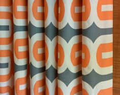 SALE Curtain Panels 24W or 50W x 63, 84, 90, 96 or 108L in the Embrace Apache Orange Grey Natural Collection New Fabric