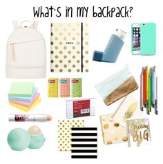 What's in my backpack? by tylarskye on Polyvore featuring polyvore, fashion, style, Want Les Essentiels de la Vie, Insten, Eos, Maybelline, Kate Spade, Nate Berkus, Sugar Paper and Chronicle Books