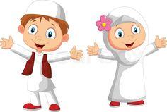 Vector Illustration Of Happy Muslim Kid Cartoon  Colourbox Clipart