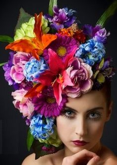 Colorful flowers in a lovely hat
