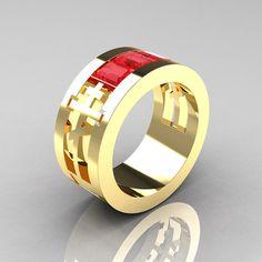 Mens Modern 14K Yellow Gold Ruby Channel Cluster Wedding Ring R419NM-14KYGR