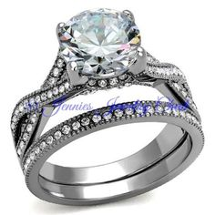 2.75 CT Solitare Cubic Zirconia Eternity Stainless Steel Bridal Set - Jennies Jewelry Chest  - 1