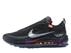 hot sale online ba674 29688 Off-White x Nike Air Max 97 Classique Chaussure de BasketBall Homme Noir  blanc AJ4585