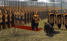 """""""Therefore Morgoth came, climbing slowly from his subterranean throne, and the rumour of his feet was like thunder underground. Morgoth and Fingolfin, the Ruin of Beleriand Fantasy Battle, Fantasy Armor, High Fantasy, Medieval Fantasy, Fantasy World, Shadow Of Mordor, Knight Art, Fantasy Inspiration, Fantasy Landscape"""
