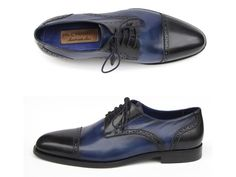 Parliament blue & navy hand-painted leather upperAntique burnished natural leather soleFinest Italian calfskin Cap-toe derby style men's broguesLeather wrapped lacingNavy lining and inner sole   This is a made-to-order product. Please allow 15 days for the delivery. Because our shoes are hand-painted and couture-level creations, each shoe will have a unique hue and polish, and color may differ slightly from the picture.