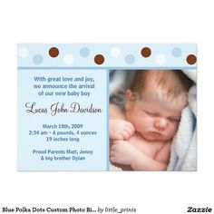 Blue Polka Dots Custom Photo Birth Announcements