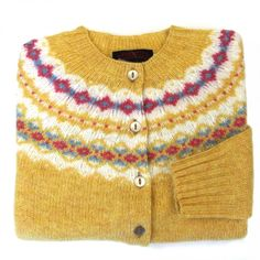 Women's Scottish Shetland Wool Fair Isle Cardigan Sweater - Curry