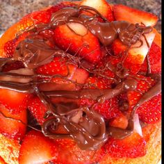 the makings of a strawberry nutella cake