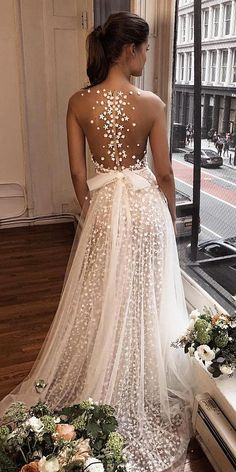 27 Stunning trend: tattoo effect wedding dresses ❤️tattoo effect wedding . 27 Stunning trend: wedding dresses with tattoo effect wedding dresses with tattoo effect a line illusion back with bow Berta . Sheer Wedding Dress, Cute Wedding Dress, Wedding Dress Trends, Long Wedding Dresses, Bridal Dresses, Prom Dresses, Wedding Bride, Wedding Themes, Summer Wedding