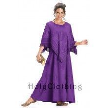 Purple Fuchsia Cheyenne Boho Jacquard Satin & Embroidery Tasseled Any Occasion Shawl Dress 3X 22