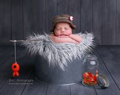 baby boy hat-Fisherman set-newborn photography photo prop-crochet hat and fish. $40.00, via Etsy.