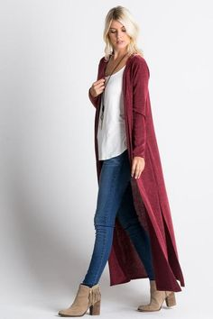 hooded maxi cardigan http://rstyle.me/n/vnbwipdpe | Marsala ...