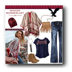 """Winter Wanderlust with American Eagle: Contest Entry"" by veronica7777 ❤ liked on Polyvore featuring American Eagle Outfitters, Patchington and aeostyle"