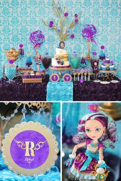 Ever After High Madeline Hatter Inspired party - blue/purple/gold color scheme
