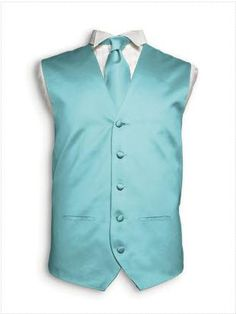 Men's waistcoat and cravat in Tiffany blue from Dessy #blue #wedding