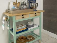 HGTV.com show you how to turn a store-bought kitchen island into a custom cart to work with your cooking needs and increase kitchen storage.