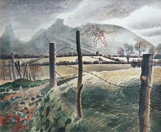 Pastoral England: British painter, Eric Ravilious Ive seen the Cerne Abbas Giant. Painting Collage, Art For Art Sake, Green Man, Landscape Paintings, Landscapes, Art Prints, Pictures, Image, Twitter