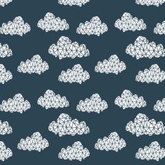 Geo Clouds - Parisian Blue (Smaller Version) by Andrea Lauren on Spoonflower