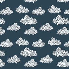 Geo Clouds - Parisian Blue (Smaller Version) by Andrea Lauren on Spoonflower