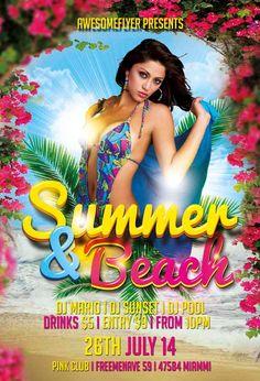 Summer And Beach Flyer Template https://noobworx.com/store/summer-beach-flyer-template/?utm_campaign=coschedule&utm_source=pinterest&utm_medium=NoobWorx&utm_content=Summer%20And%20Beach%20Flyer%20Template #free #flyer #template