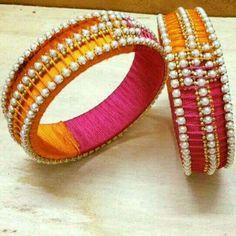 pearls silk thread bangles