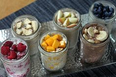 Overnight refrigerator oats. A mixture of oats, yogurt, milk, and chia seeds. Refrigerated overnight, and eaten cold