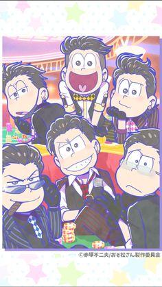 osomatsu san, osomatsu, karamatsu, choromatsu, ichimatsu, jyushimatsu, todomatsu, tabimatsu, casino, おそ松さん、おそ松、カラ松、チョロ松、一松、十四松、トド松、カジノ、たび松 // god i wish i was there. choro, ichi, and jyushi are MY absoLuTE MMMMM