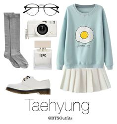 """Cute/Flirty Outfit with Taehyung"" by btsoutfits ❤ liked on Polyvore featuring Hue, Dr. Martens, Lomography and Bella Freud"