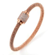 Jewelry Gift Boutique  - Silver Rose Gold Plated CZ Beaded Italian Bangle
