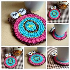 (4) Name: 'Crocheting : Crochet Double Faced Owl Coaster Pattern