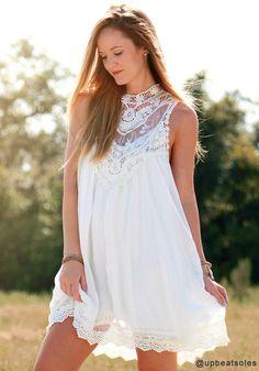 White Lace Chiffon Mini - Sweet Lace Dress