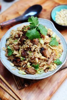 Inspired by the Pa Bao Duck Rice at Jianguo 328 This is a delicious and extravagant fried rice that will have you craving Uk Recipes, Rice Recipes, Asian Recipes, Cabbage Fried Rice, Chicken Mushroom Rice, Lamb Skewers, Ginger Pork, Tofu Dishes