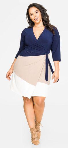Plus Size Tri-Tone Wrap Dress