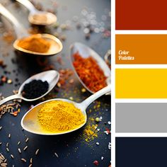 color of curry, color of honey, color of paprika, color of silver, color solution, contrasting combination, dark blue and orange, dark-blue, gray, orange and yellow, red and orange, saffron yellow, selection of color.