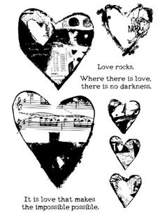Ranger Ink - Dina Wakley Media - Unmounted Rubber Stamps - Collaged Hearts at Scrapbook.com