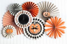 Halloween Party Decorations, Paper Rosettes with Vintage Inspired Graphics  Make your next Halloween party spectacularly spooky with these cool