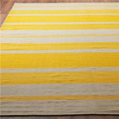 Classic Stripe Dhurrie Rug in Yellow