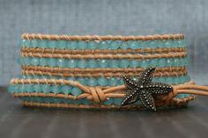 starfish bracelet sea glass blue crystal on peach by CorvusDesign