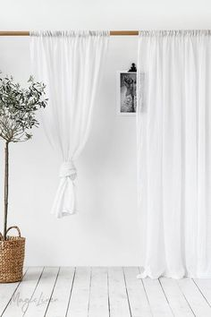 Discover our sheer linen curtains with a rod pocket for easy hanging. Order ready made curtains now or request bespoke curtains in your desired color. Sheer Linen Curtains, Window Drapes, Window Coverings, Drapes Curtains, Linen Fabric, Photography Studio Spaces, Types Of Curtains, Curtain Types, Farmhouse Windows