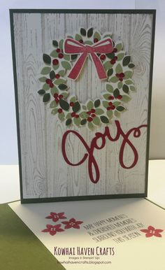 SNEAK PEEK: Stampin' Up! 2014 Holiday Catalogue - christmas card using the Wreath bundle available August 2014 Wedding Cards, Stampin Up, Christmas Cards, Joy, Wreaths, August 2014, Colours, Frame, Holiday