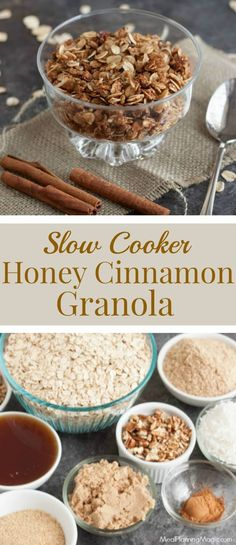 Slow Cooker Homemade Honey Cinnamon Granola is super delicious AND nutritious! Makes a big batch to enjoy as breakfast, snack, as a yogurt topping and more! Best Nutrition Food, Health And Nutrition, Health Care, Fitness Nutrition, Health Diet, Nutrition Chart, Cheese Nutrition, Nutrition Articles, Child Nutrition