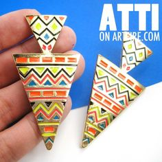 Large Aztec Geometric Print Double Arrow Stud Boho Earrings in Gold #gold #earring #jewelry